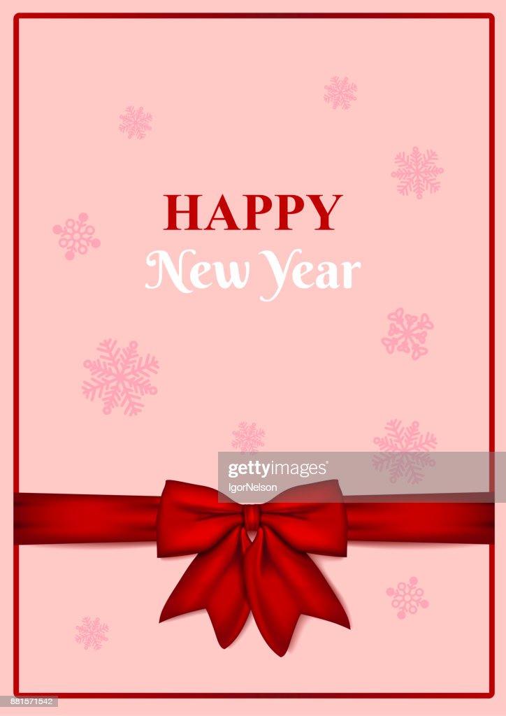 Frohes Neues Jahr Leere Grußkarte Mit Roter Schleife Auf Rosa ...