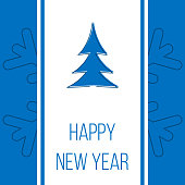 Happy New Year, blue greeting card with christmas tree