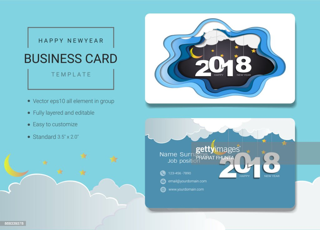 2018 happy new year business card or name card template simple style 2018 happy new year business card or name card template simple style also modern and elegant with 2018 graphic background its fully layered and editable wajeb Gallery