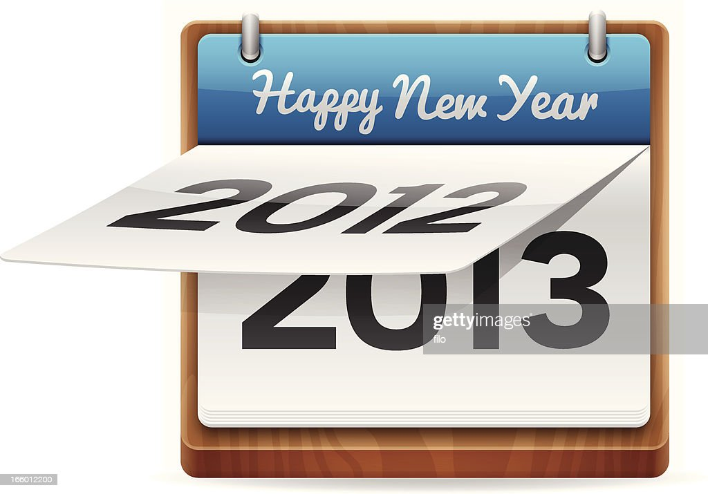 happy new year calendar vector art