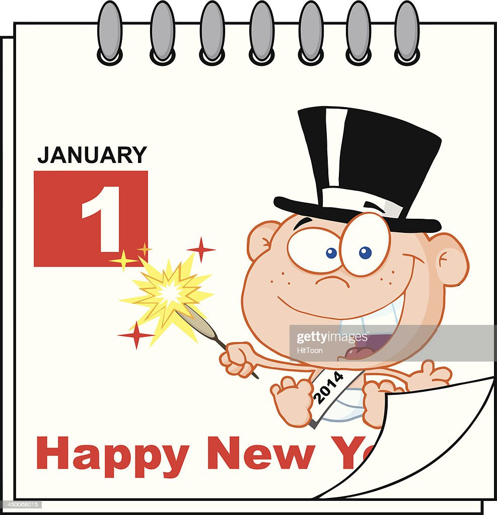happy new year calendar with baby vector art
