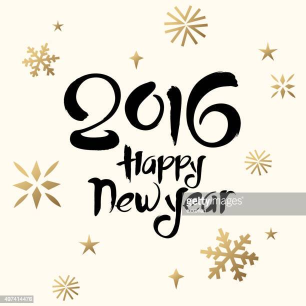 happy new year calligraphy - 2016 stock illustrations, clip art, cartoons, & icons