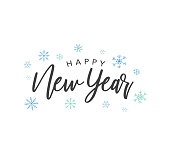 Happy New Year Calligraphy Vector Text With Colorful Hand Drawn Snowflakes Over White