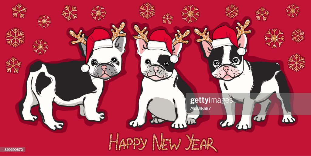 Happy New Year card. Abstract card with cute french bulldog in santa hat, gold glittering  snowflakes and wishing text on red background.