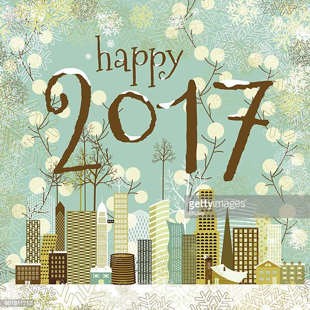 Happy new year card christmas cityscape 2017 card winter, snow