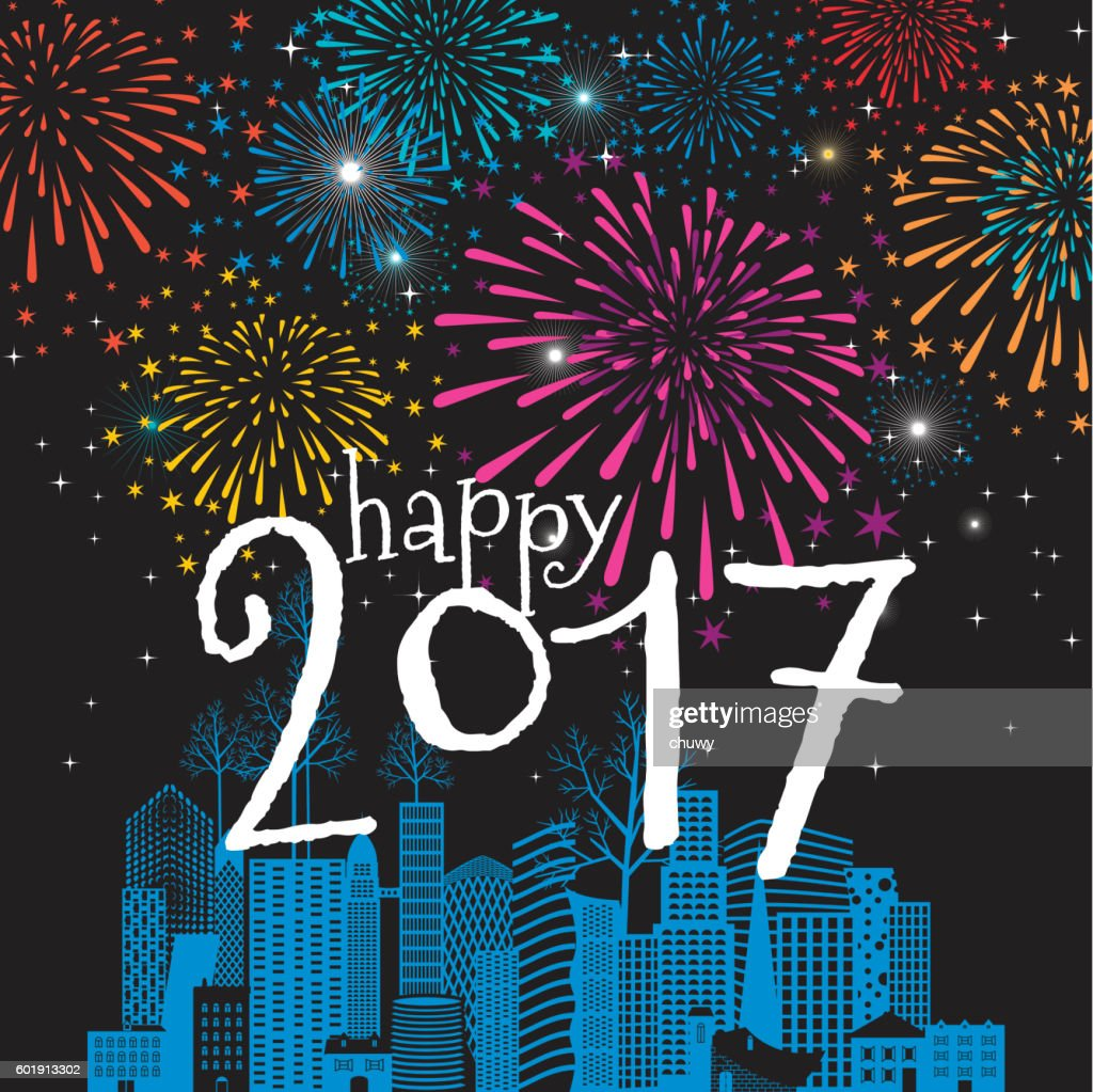 happy new year card christmas cityscape 2017 fireworks vector art
