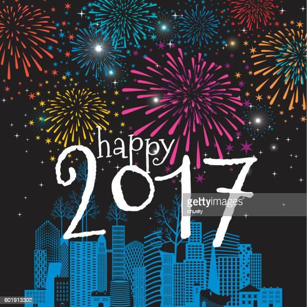 ilustraciones, imágenes clip art, dibujos animados e iconos de stock de happy new year card christmas cityscape 2017 fireworks - chuwy