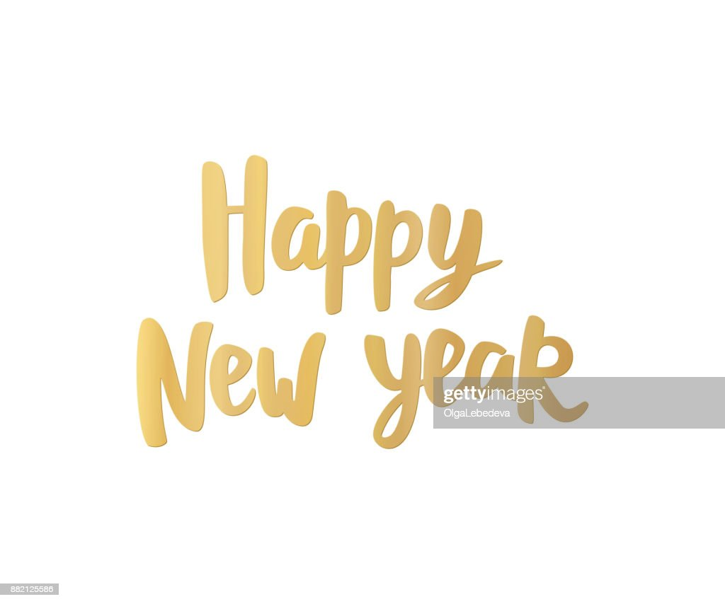 Happy New Year Karte Goldene Hand Gezeichneten Schrift Ideal Für ...