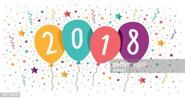 happy new year card with balloons - 2018 stock illustrations