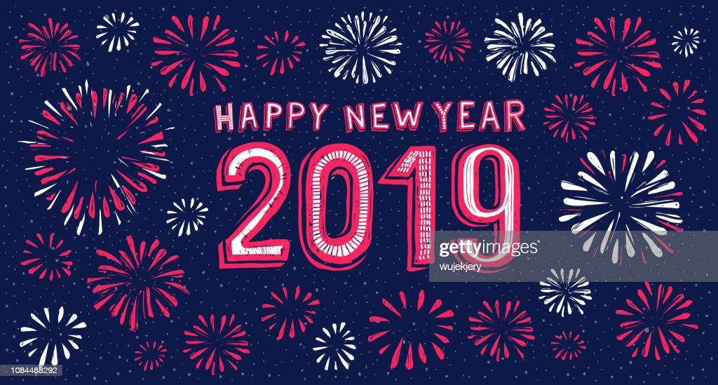 2019 happy new year card with fireworks background vector art