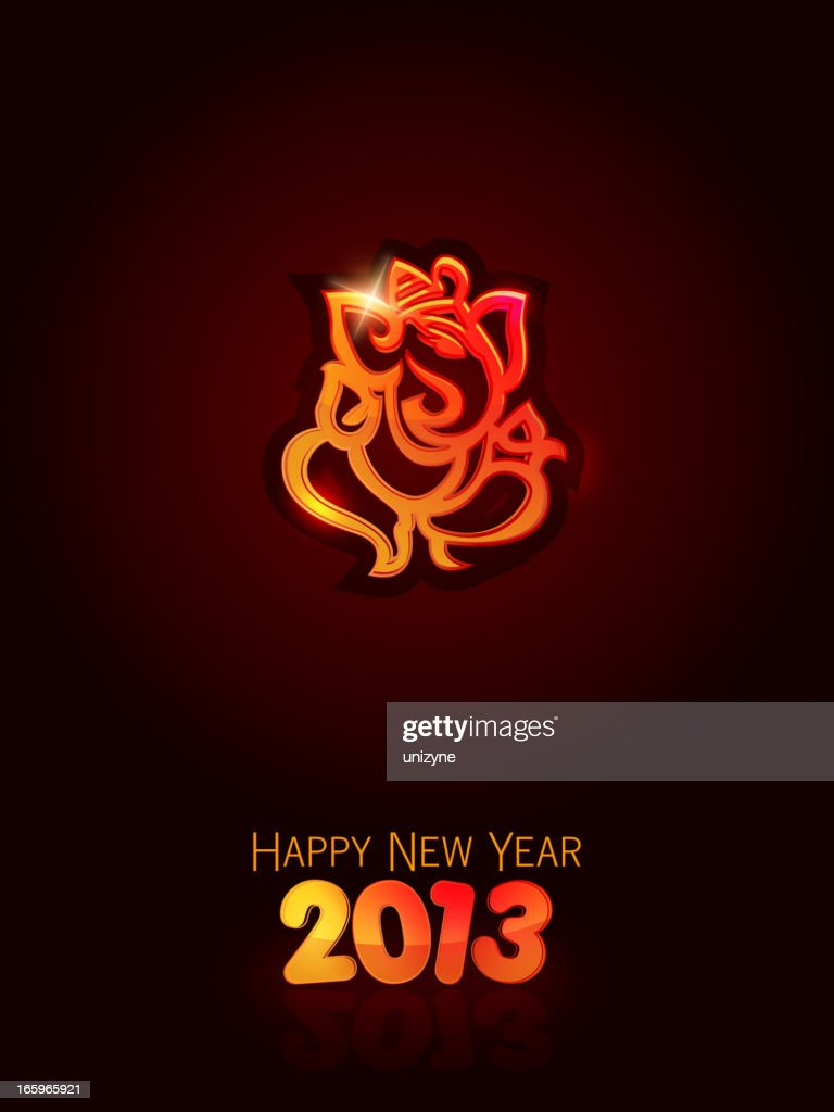 happy new year card with god ganesha vector art