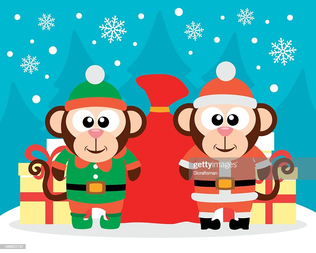 Happy New Year card with monkey santa claus and monkey elf