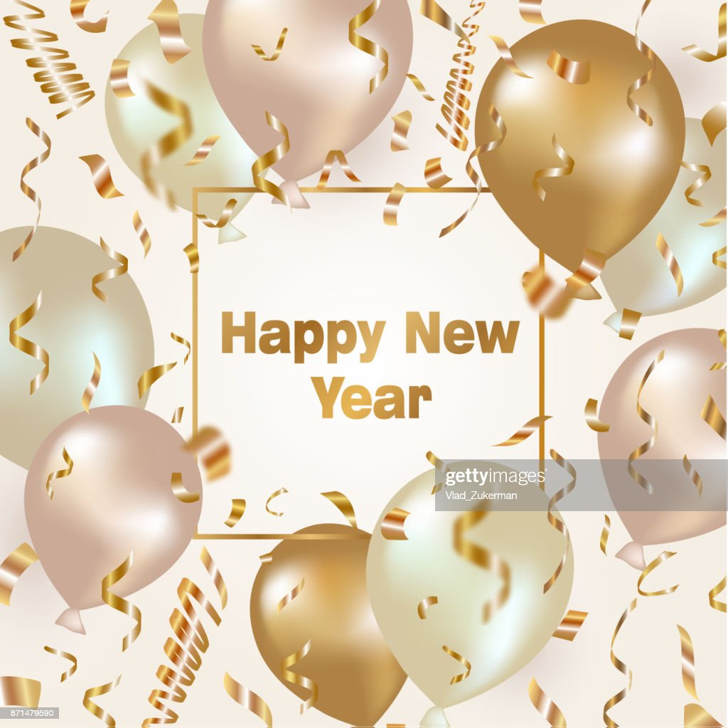 Happy New Year celebration background with gold balloons and confetti