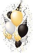 Happy New Year Celebration Happy Birthday Party Balloons Vector Illustration