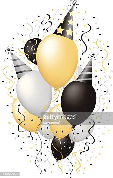 happy new year celebration happy birthday party balloons vector illustration - hat stock illustrations