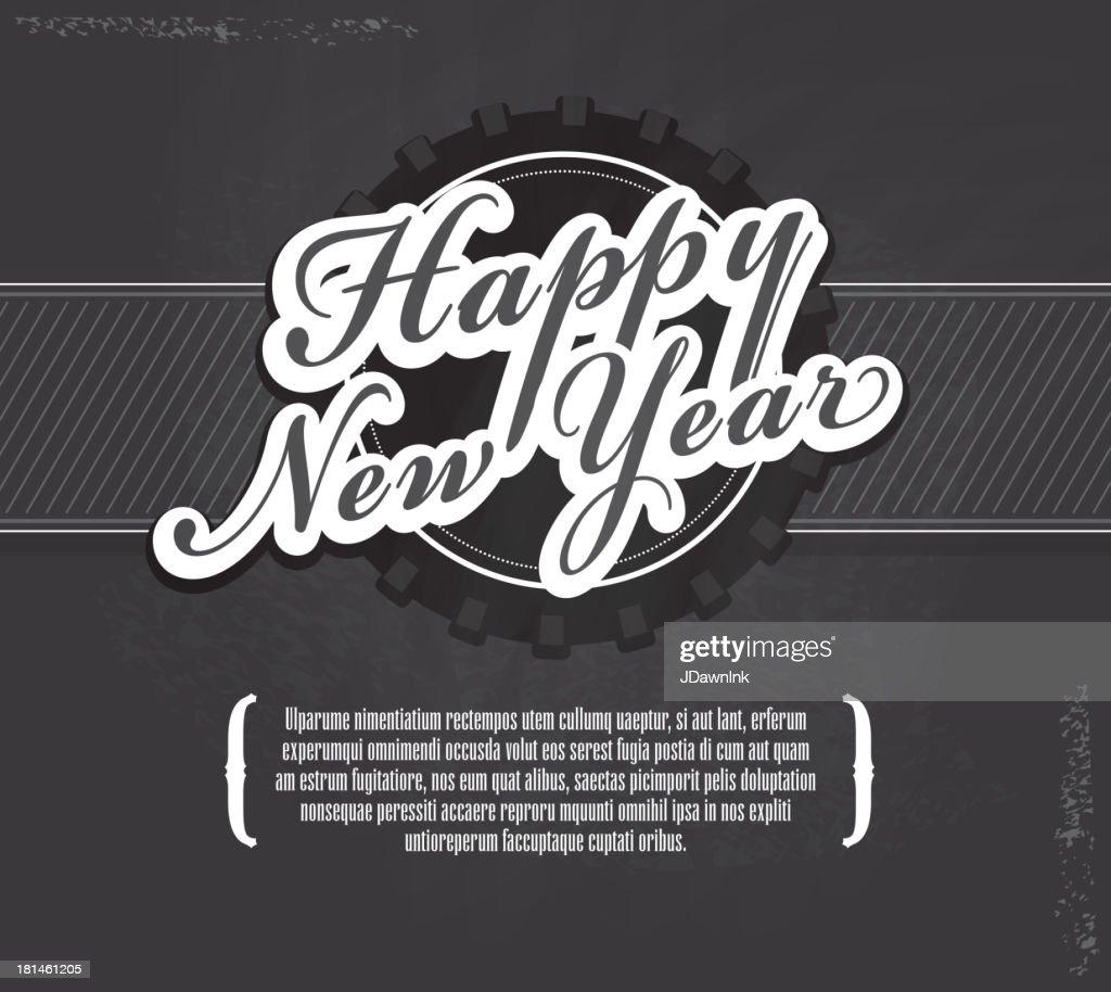 happy new year chalkboard greeting design template vector art