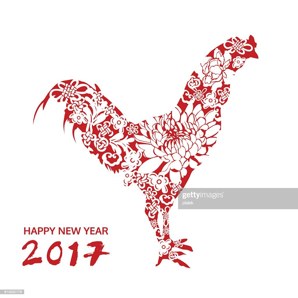 happy new year, chicken with flower, chinese style, vector card