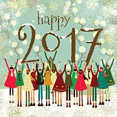 Happy new year children kids 2017 text christmas card vintage