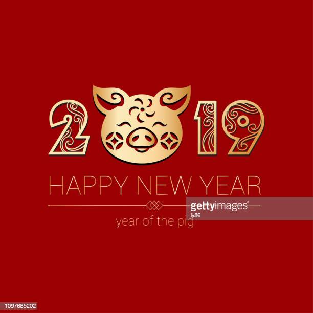happy new year, chinese new year, pig papercut, year of the pig, 2019 - year of the pig stock illustrations