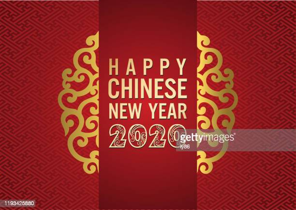 happy new year, chinese new year, year of the rat, 2020, - chinese new year stock illustrations