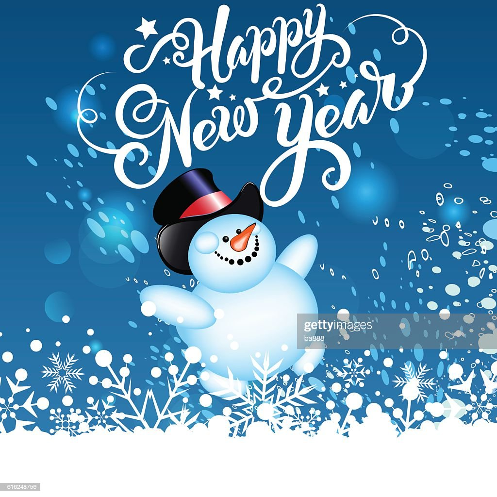 happy new year, christmas card, snowman : Vector Art