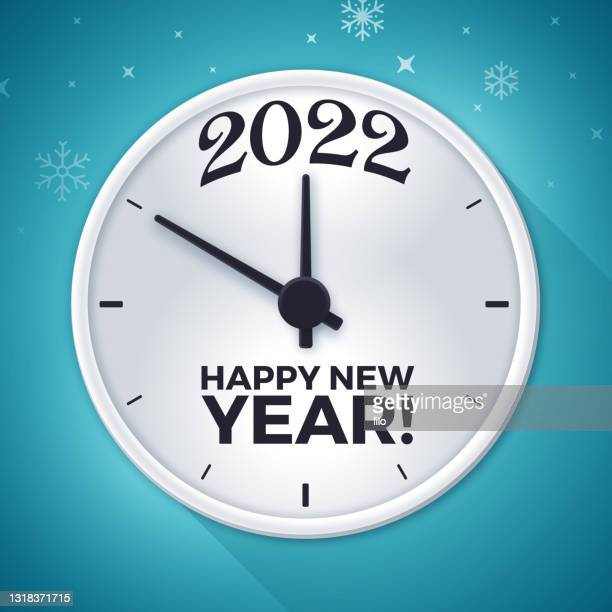 2022年明けましておめでとうございます時計の顔 - 新年レセプション点のイラスト素材/クリップアート素材/マンガ素材/アイコン素材