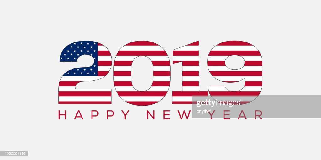 Happy New Year Concept With Usa Flag Vector Art | Getty Images