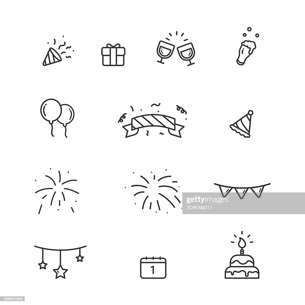 Happy New Year cute icons set