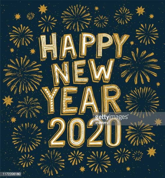 2020 happy new year doodle, fireworks on background - new year's eve stock illustrations