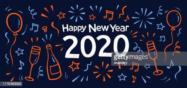 新年落書きグリーティングカード2020。 - 年越し点のイラスト素材/クリップアート素材/マンガ素材/アイコン素材