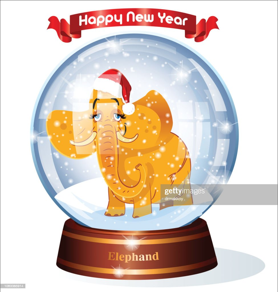 happy new year elephant and snow globe vector art