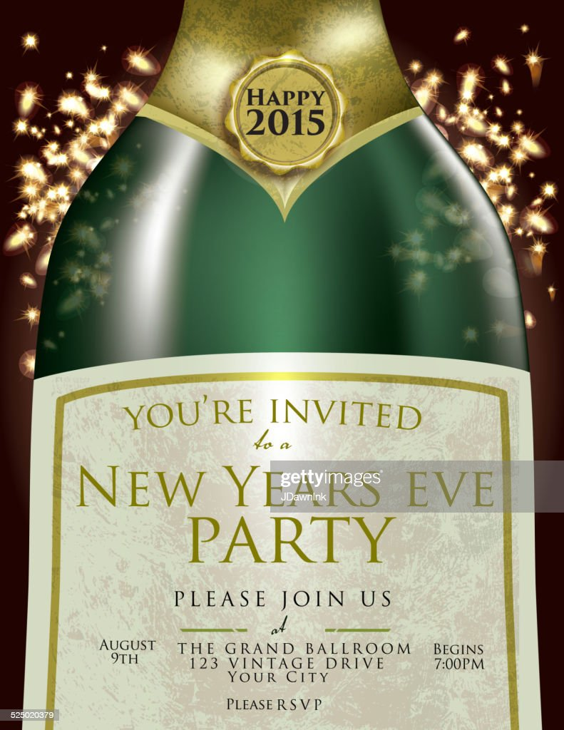 happy new year eve champagne bottle invitation design template vector art