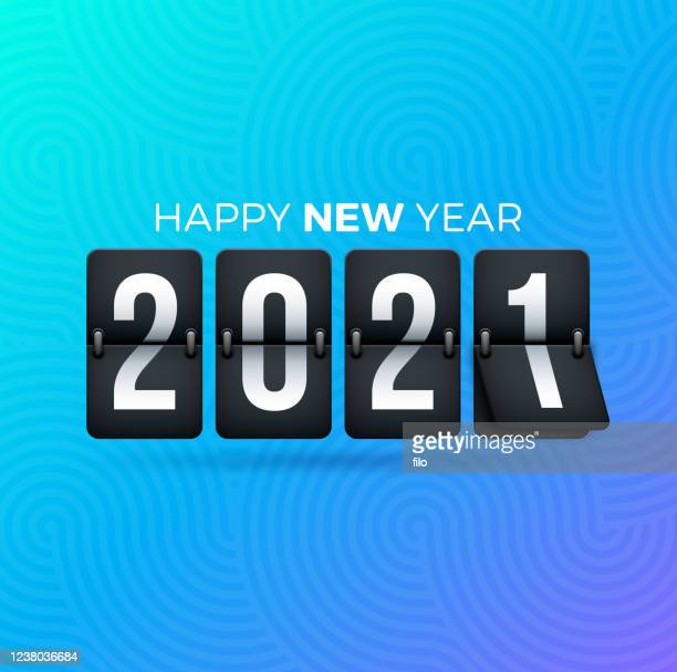 2021 happy new year flip clock - happy new month stock illustrations