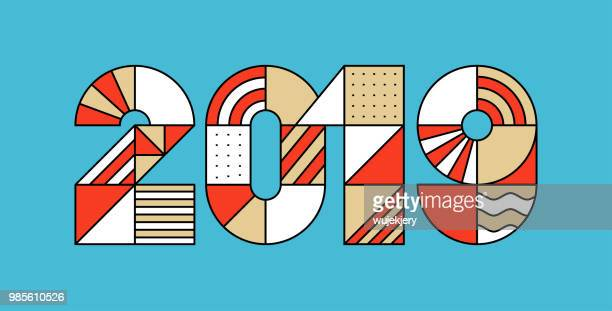 2019 Happy New year. Geometric numbers greeting card