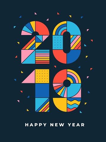 2019 Happy new year geometric typography - gettyimageskorea