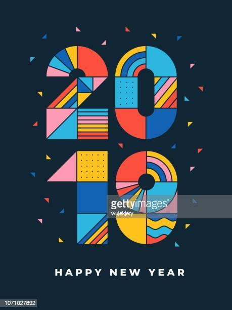 2019 frohes neues geometrische typografie - zahl stock-grafiken, -clipart, -cartoons und -symbole