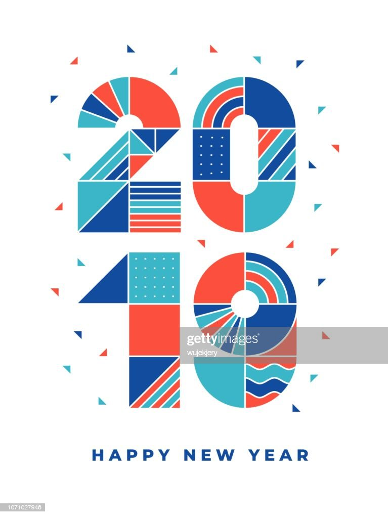 2019 frohes neues geometrische Typografie : Stock-Illustration