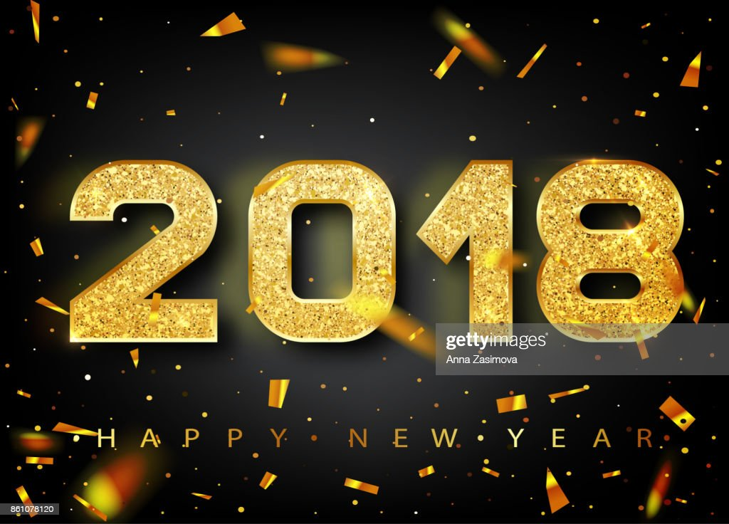 2018 Frohes Neues Jahr Gold Zahlen Design Grußkarte Gold Glänzende ...