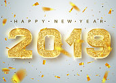 2019 Happy new year. Gold Numbers Design of greeting card of Falling Shiny Confetti. Gold Shining Pattern. Happy New Year Banner with 2018 Numbers on Bright Background. Vector illustration