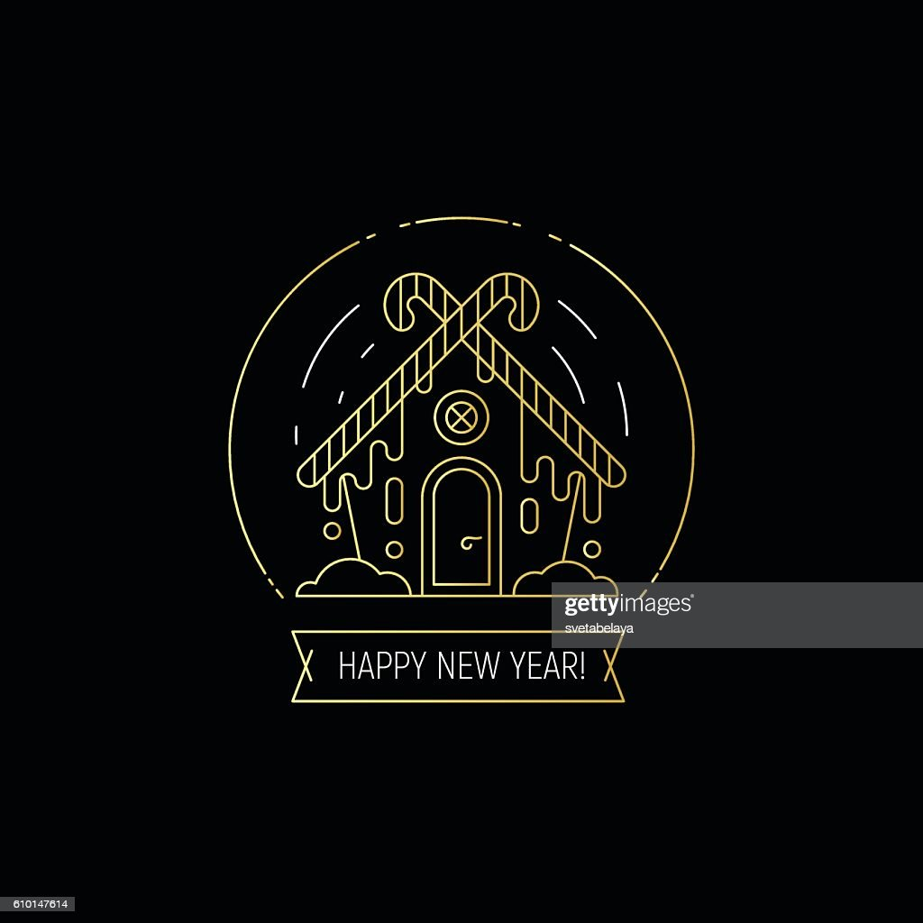 Happy New Year gold on black thin line design