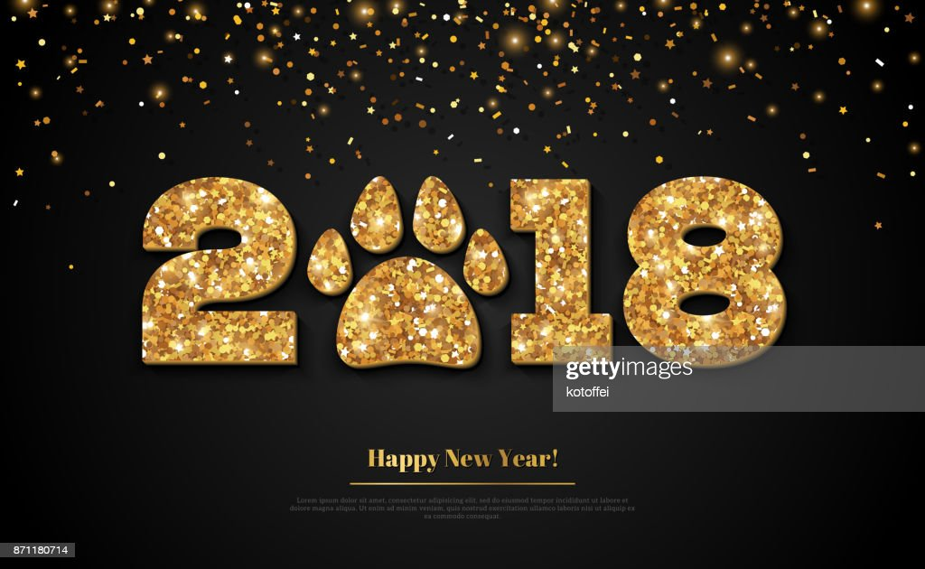 2018 Happy New Year gold on black