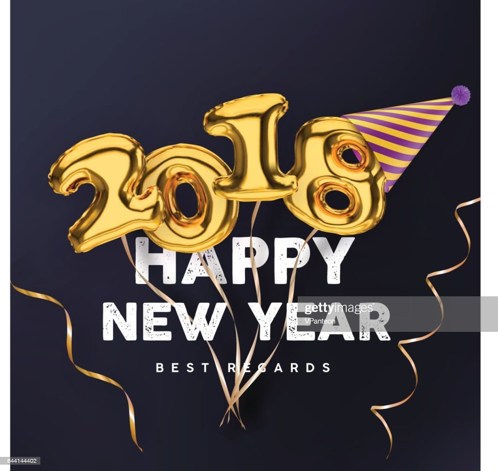 2018 Happy New Year gold vector banner isolated on black background