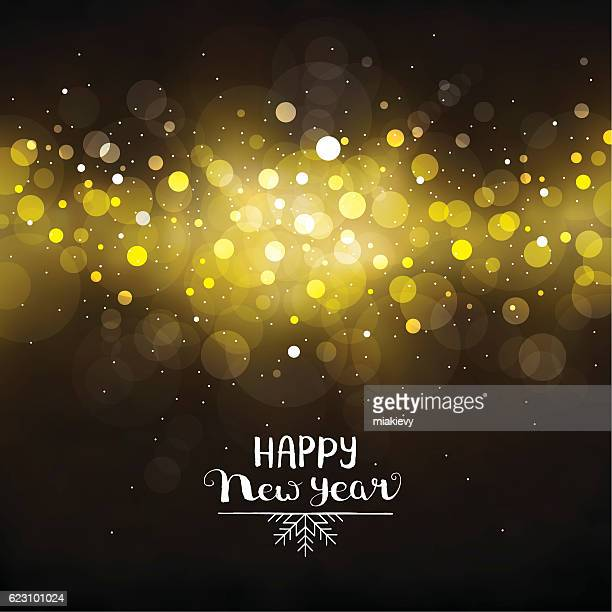 happy new year golden lights - defocused stock illustrations