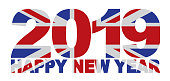 2019 Happy New Year Great Britain Union Jack Flag Numbers Outline Isolated on White Background vector Illustration
