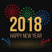 Happy New Year greeting card, colorful fireworks and golden text