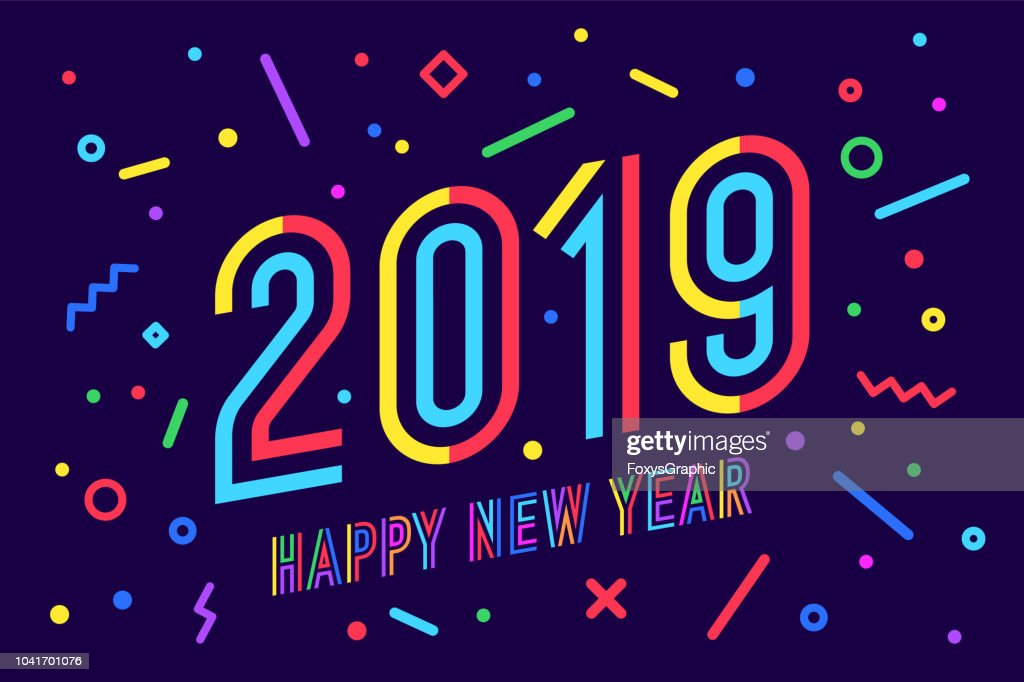 2019, Happy New Year. Greeting card Happy New Year 2019