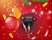 Happy new year greeting card.  Round black classic wall clock with 2019 digits on clock face