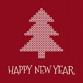 Happy New Year greeting card, square mosaic christmas tree on red background