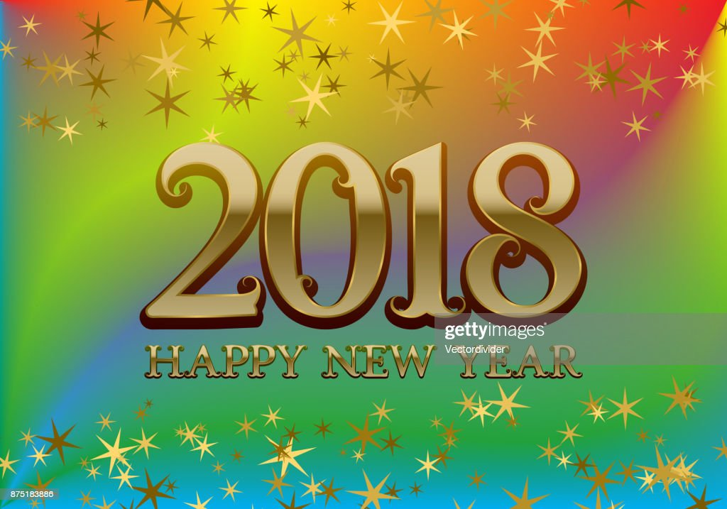 2018 happy new year greeting card template on colorful blended background with glittering stars