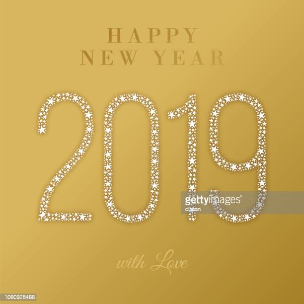 2019 - happy new year greeting card. - christmas cash stock illustrations